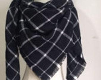 Black n' White Small Plaid - Blanket Scarf