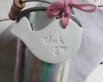 Wedding Favour Tag Thank you Bird, Clay Ornament Gift Tag, Thank you Wedding Favours Gift Tag, Thank you Gift Tag Clay Ornaments