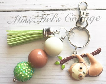 Sweet Baby Sloth Keychain/Zipper Charm with accent beads and tassel/purse/bag/planner charm