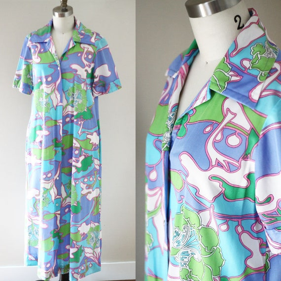 1970s psychedelic robe // 1970s lounge wear // vintage robe