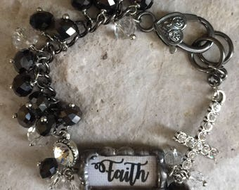 Faith-faith charm-word bar bracelet-bracelets-soldered jewelry-crosses-cross charms-hand made