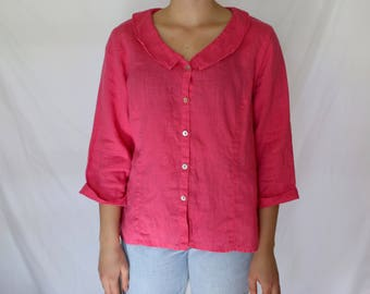 Women's Pink Vintage Linen FLAX Brand Top - Size Small