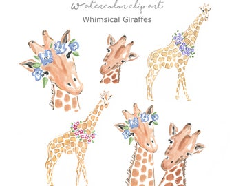 Whimsical Giraffes Clip Art Collection  - Watercolor Giraffes - Watercolor Clip Art - Giraffes - Scrapbooking - Nursery Clip Art - Printable
