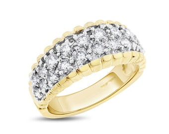 1.00 Carat Natural Diamond Vintage Inspired Band In Solid 14k Yellow Gold
