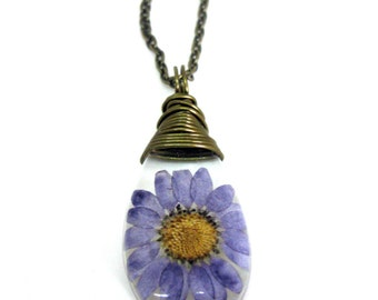 Purple Daisy Resin Teardop Necklace - Real Flower Encased in Resin - Pressed Flower Jewelry - Resin Necklace -  Wire Wrapped Pendant