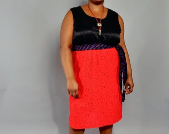 Plus Size Skirt // Vintage Red & Black Polka Dot Pencil Skirt // XXL