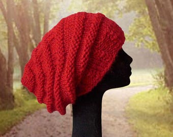 Slouchy Beanie Hat / Slouch Beanie / Baggy Hat / Womens Hat / Oversized Beanie / Women's Warm Winter Hat / Beehive Beanie / Red Hat