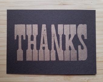 Letterpress Thank You Card Wood Type Postcard