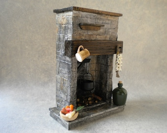 18 inch Barbie Doll House Kitchen Fireplace Stone Cottage Cooking Large Scale 1:6 Barbie Doll Monster High Dolls