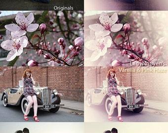 INSTANT DOWNLOAD Vanilla and Pink Haze Photoshop Action