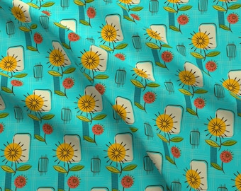 Mod Floral Fabric - Mid Century Modern Dandelions Turquoise By Retrorudolphs - Vintage Flowers Cotton Fabric By The Yard With Spoonflower