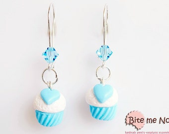 Polymer Clay Sweet Wedding Cupcakes Earrings, Cupcakes Hooks, Food Jewelry, Polymer Clay Jewelry, Kawaii Jewelry, Cute Cupcakes, Foodie Gift