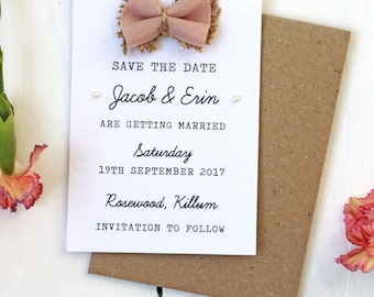 Rustic Fabric Bow and Burlap, Hessian and Pearl Save the Date Card