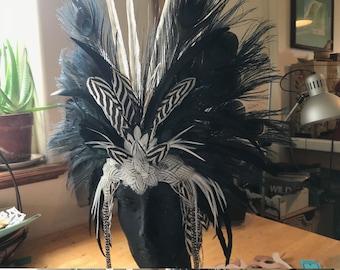 Zebra Feather Mask, Zebra Headdress, Wearable Headdress, Decorative Headdress, Party Wear, Mardi Gras, masquerade Party, Festivals