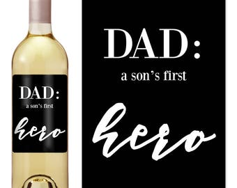 Fathers Day - Fathers Day Wine - Fathers Day Gift - Fathers Day Gift from Kids - Whiskey Label - Gift for Him - Father Gift - Wine Label