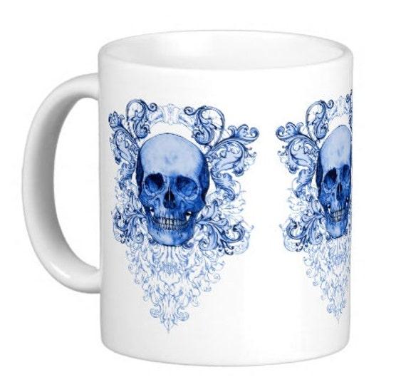 Blue Willow Skull Shabby Chic Mug