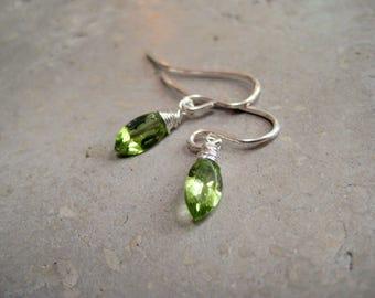Peridot earrings, August birthstone earrings, Leo earings, sterling silver Peridot earrings, gold peridot earrings, gemstone earrings