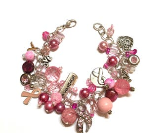Pink Charm Bracelet with Breast Cancer Awareness Charms. 8 Inches