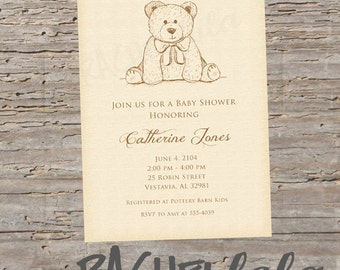 Teddy Bear baby shower invitation, printable template, digital download, birthday party, custom, personalized, vintage, gender neutral