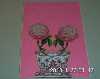 Flower Pot Roses Mother's Day Card