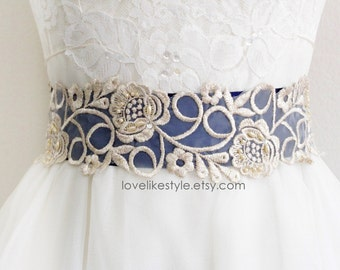 Navy Grosgrain Ribbon with Light Gold Beaded Lace Sash, Bridal Sash, Bridesmaid Sash, Flower Girl Sash