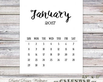 Printable Calendar 2017,Calendar Printable,Monthly Calendar,Office Calendar,Instant Download,Digital Calendar 2017,Printable Wall Calendar