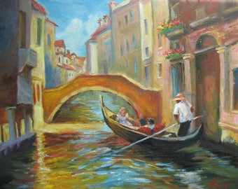 Canal In Venice Italy oil painting Venice cityscape Cityscape painting Gondolas In Venice Cityscape Venice wall art Oil Painting On Canvas