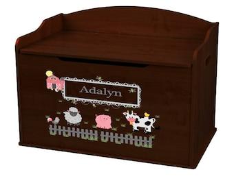 Personalized Barnyard Friends Pastel Espresso Toy Box Bench