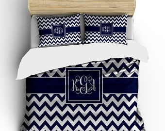 Memorial On Sale Custom Personalized Chevron Duvet Cover -Available Twin, Queen and King size -Navy Chevron