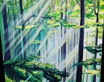 Within the forest - wall art, trees, painting, wall art, nature