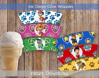 Paw Patrol Ice Cream Cone Wrappers Paw Patrol Waffle Cone Wrapper Ice Cream Party Paw Patrol Birthday INSTANT DOWNLOAD