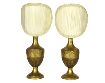 Pair of Vintage French Gilt Wood Table Lamps. Gold Wooden Urn Bedside Lights. French Boudoir Decor.