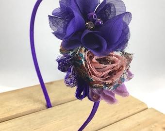 Women's purple headband, shabby flower headband for women, stocking stuffer teen girl, adult Halloween headband, best selling items, tween