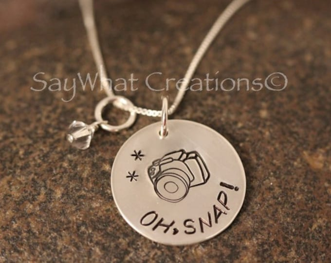 Custom Hand Stamped Sterling Silver Photographers Necklace with Camera stamp OH SNAP