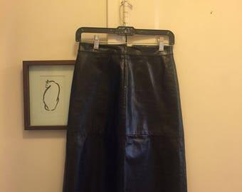Vintage GAP A-Line Black LEATHER Skirt Size 0