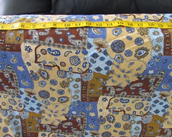 Cotton Gauze Fabric paisley, patchwork look, French blue, brown, price per yard, Lightweight, summer fabric, crafts