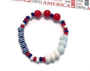 Red, White and Blue Stacker Bracelet - Memorial Day accessory, flag charm, 4th of july jewelry, patriotic bracelet, usa charm, 4th of july