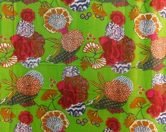 fabric by the yard cotton lightweight printed lime green pineapple and multicolor