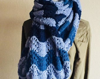 Hand Knitted Stole Blue