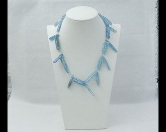 Natural Blue Kyanite Gemstone  Loose Beads,Blue Kyanite Necklace,1 Strand ,41cm In The Length,37x9x4mm,27x6x5mm,57.8g(v0101)