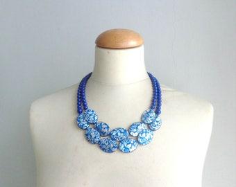 Statement blue necklace, damask blue necklace