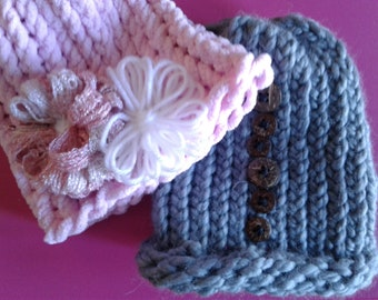 Adorable Baby Hat with Flowers or Buttons