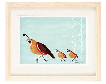 Quail Family Illustration Archival Art Print for Nursery, Kitchen, Kids Room Decor, Wall Art