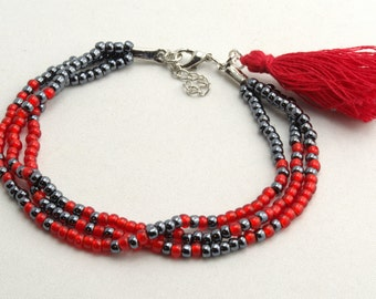 Multi Strand Bracelet with Tassel
