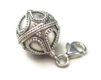 Clip On Ball Charm in Bali Sterling Silver, Bracelet Bead or Necklace Pendant, Purse Zip Pull