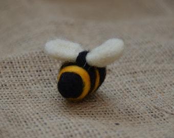 Needle felted Bumble Bee brooch pin handmade