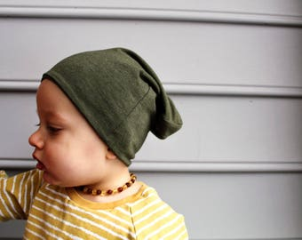 Olive baby hat - toddler hat - baby beanie -  toddler beanie - slouchy beanie