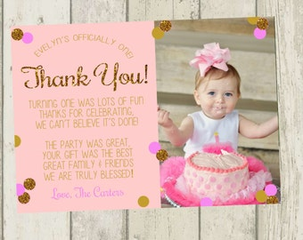 First Birthday Thank You Card Pink Gold Glitter