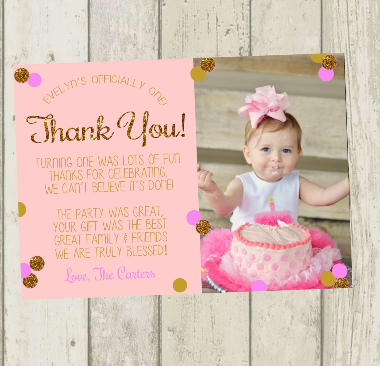 First birthday thank you card pink gold glitter thank you zoom bookmarktalkfo Image collections