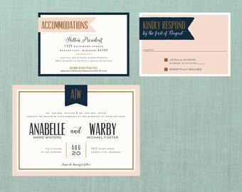 Vintage Banner Wedding Suite // DIY PRINTABLE Invite + RSVP // Vintage Wedding, Banner Wedding, Elegant Wedding